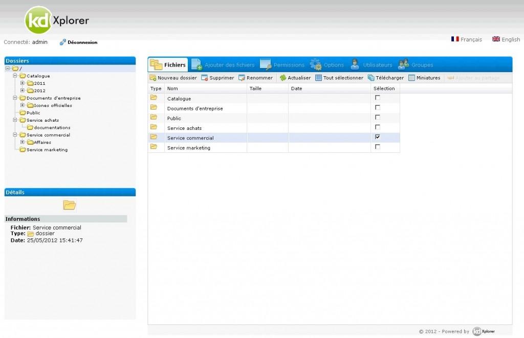 L'interface se rapproche d'un serveur FTP en ligne