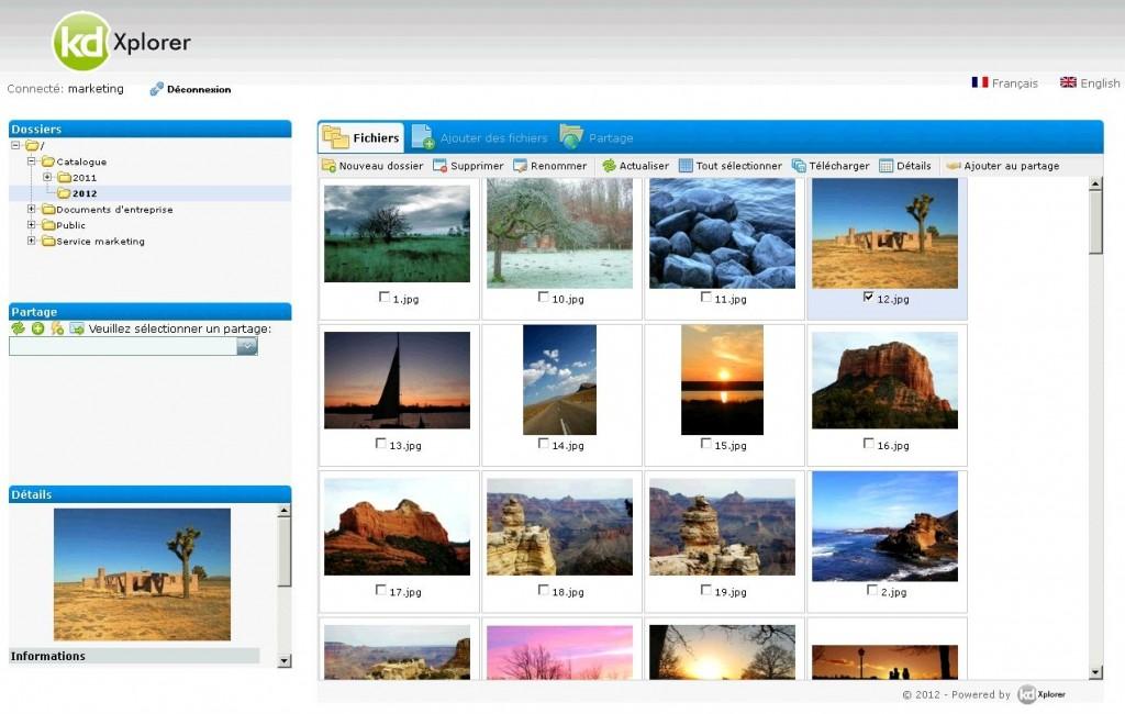 Contrairement à un serveur FTP, il est possible de prévisualiser les images et les PDF