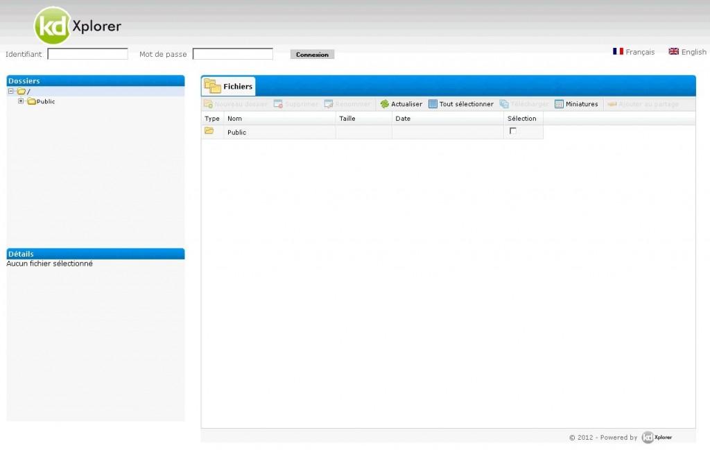 kdXplorer est multi utilisateur et permet l'ajout de dossiers publics